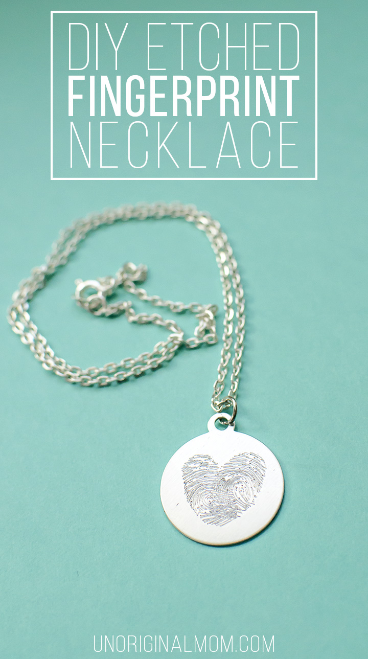 Make your own etched fingerprint necklace using your Silhouette curio! Such a neat idea to use your kid's fingerprints for a mother's day or Valentine's Day gift.