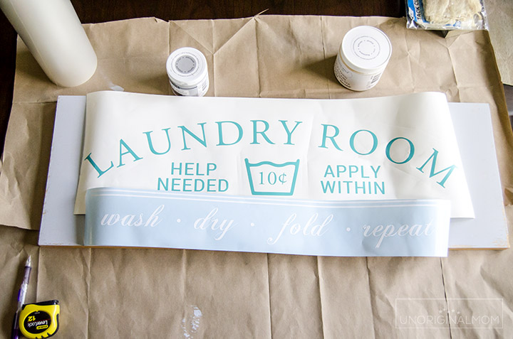DIY Painted Laundry Room sign with a Silhouette using the PVPP method. Full tutorial and a free Silhouette cut file!