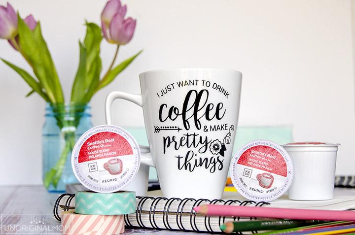 """I just want to drink coffee and make pretty things"" coffee mug made with vinyl - plus a free Silhouette cut file!   vinyl coffee mug   crafter coffee mug  "