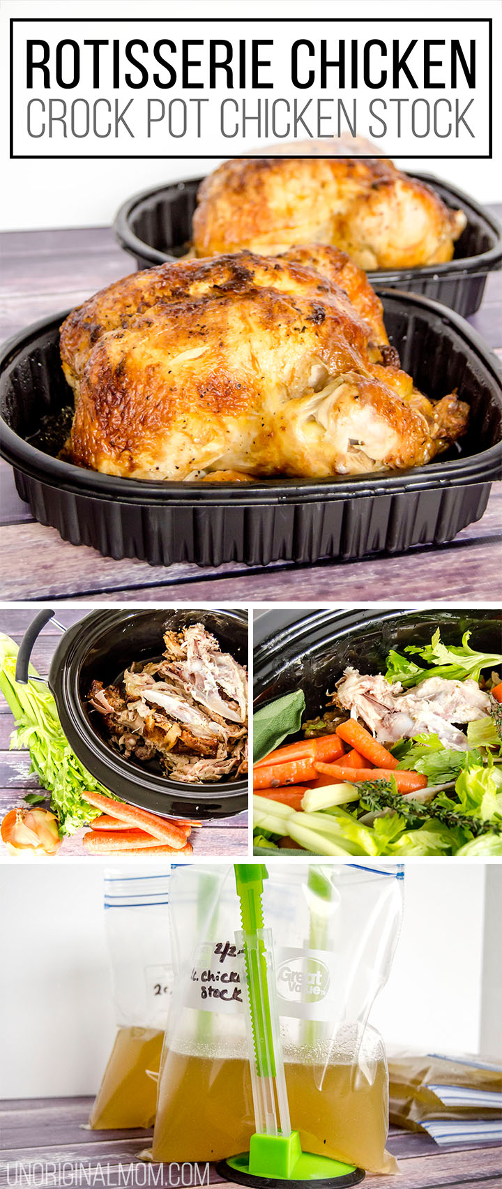 How to make the most delicious chicken stock in your crock pot with a rotisserie chicken - so cheap and easy! | crock pot chicken stock | rotisserie chicken stock | budget friendly meal planning