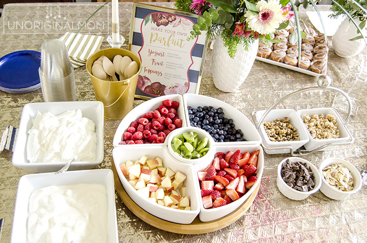 I love this super easy shower brunch idea - a yogurt parfait bar! | brunch food ideas | bridal shower brunch food | baby shower brunch food | yogurt parfait bar | shower food ideas