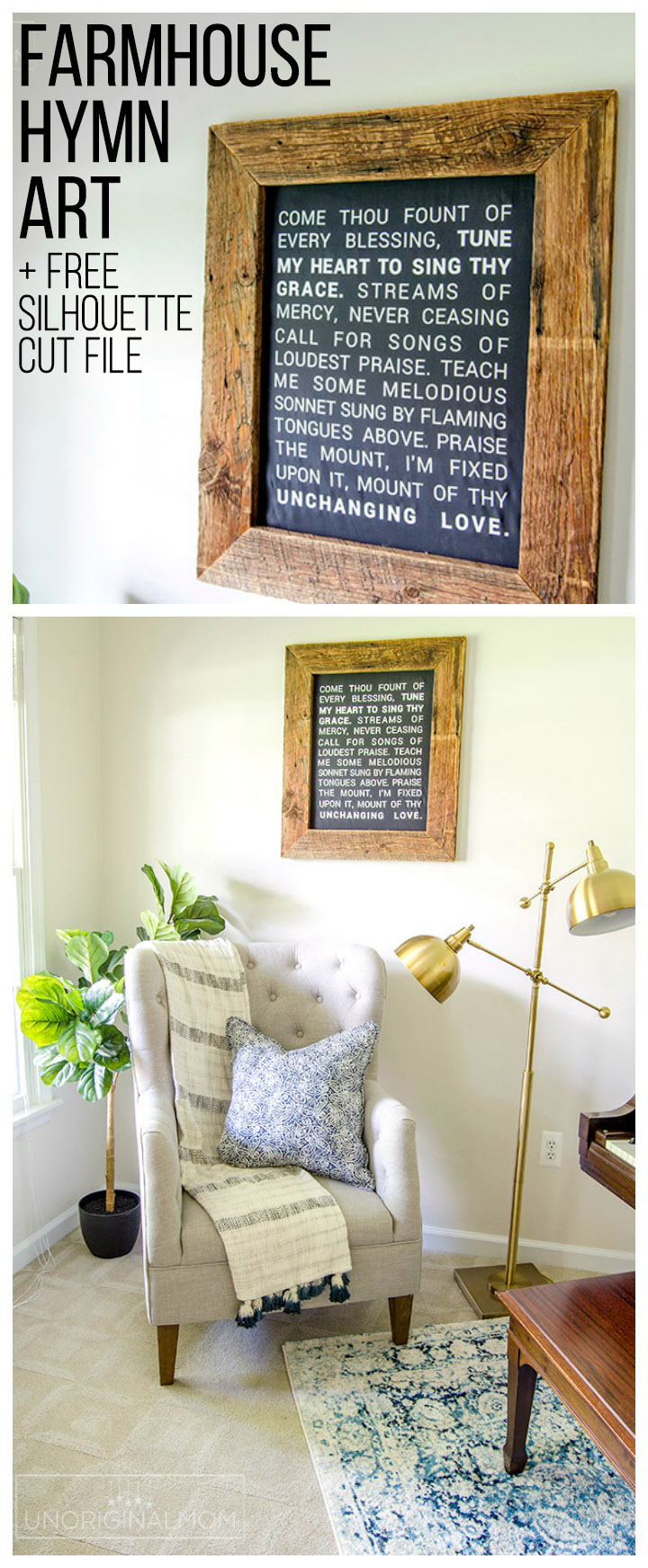 """Come Thou Fount"" Farmhouse Hymn Art with a barn wood frame, made with a Silhouette and heat transfer vinyl 