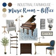 One Room Challenge – Industrial Farmhouse Office/Music Room Design Plan