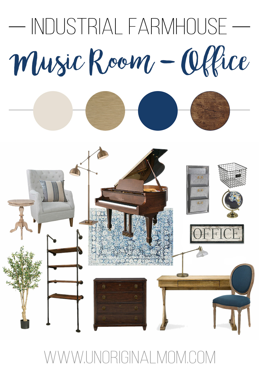 Before photos, design plan and mood board for an industrial farmhouse office/music room makeover! | industrial farmhouse office | music room | one room challenge | mood board | navy and gold