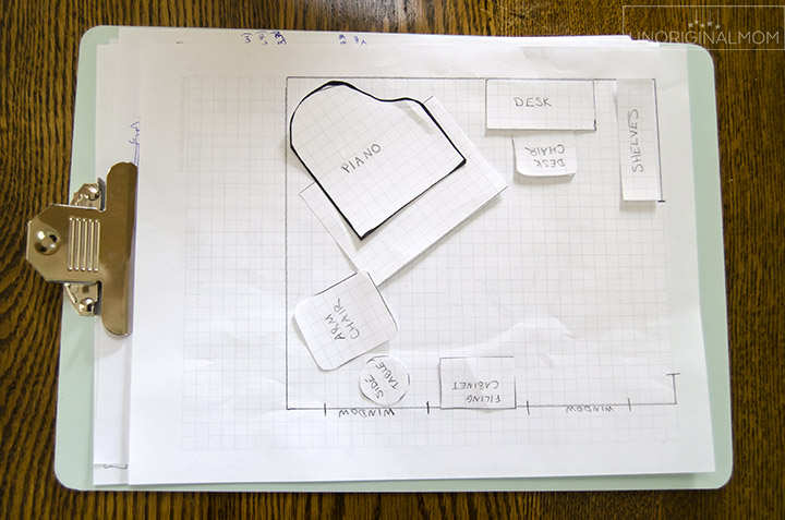 Use graph paper to work out a room design - so much easier than trying to mess around with design software you aren't familiar with!