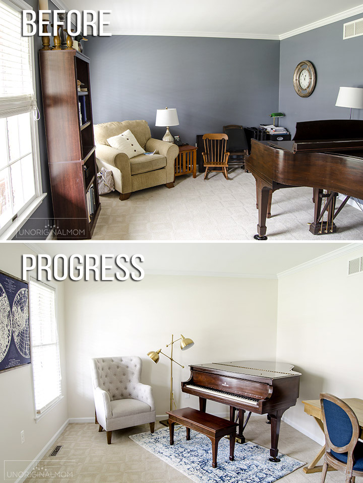 Industrial Farmhouse music room makeover with Sherwin Williams Shoji White paint