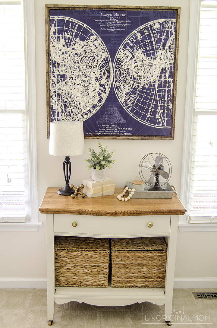 A wood cabinet gets a beautiful farmhouse style makeover with Fusion mineral paint Champlain   farmhouse furniture makeover   farmhouse office   fusion mineral paint