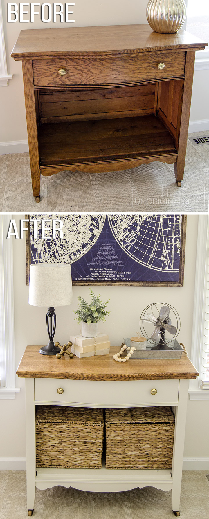 A wood cabinet gets a beautiful farmhouse style makeover with Fusion mineral paint Champlain | farmhouse furniture makeover | farmhouse office | fusion mineral paint