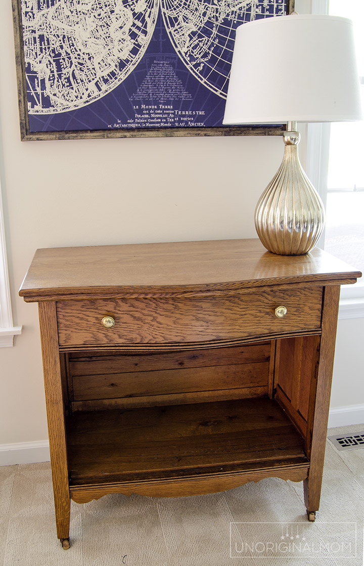 A wood cabinet gets a beautiful farmhouse style makeover with Fusion mineral paint Champlain | farmhouse furniture makeover | farmhouse office fusion mineral paint