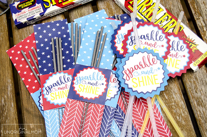 Free printable 4th of July Glow Stick Tags - so fun for a 4th of July party! There are tags for sparklers, too! | 4th of July printables | free printable sparkler tags | free printable glow stick tags | 4th of July party printables | patriotic party printables | free Silhouette cut file | patriotic party favors
