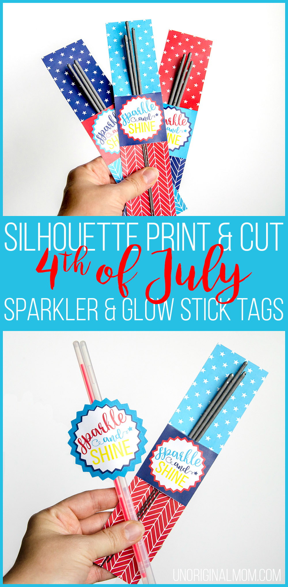 Tutorial and a free Silhouette cut file to print-and-cut sparkler tags and glow stick tags for the 4th of July! | free printable sparkler tags | free printable glow stick tags | 4th of july printables | 4th of july party | patriotic printables