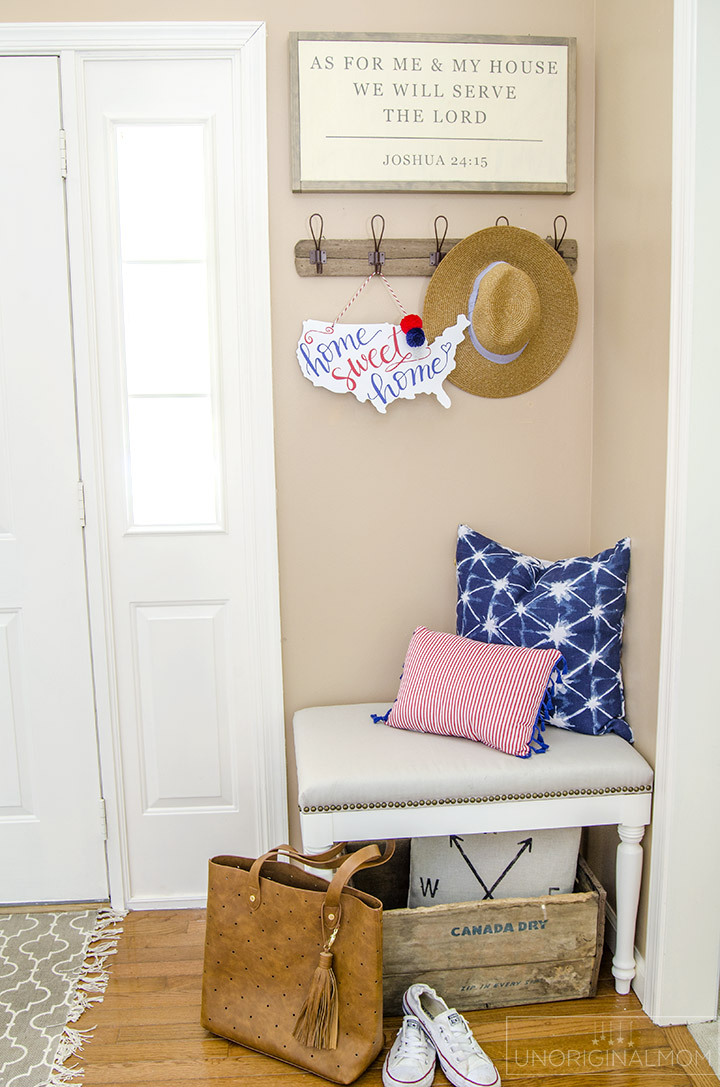 """Home Sweet Home"" patriotic door hanger - perfect decor for the 4th of July! There's a free Silhouette cut file, too! 
