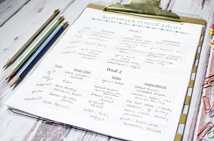 Plan out your dinners for the WHOLE summer at one time - it's easier than you think! Plus there's a free printable summer meal planner and a free google doc to get organized.   summer meal planning   free meal planner   printable meal planner   organized summer   summer plans