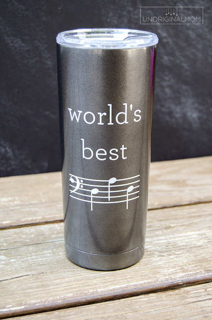 World's Best Dad mug for a music-loving dad - D-A-D is spelled out in music notes! Free Silhouette cut file, too! | world's best dad | music loving dad | musical father's day gift | bass clef d-a-d | father's day silhouette cut file