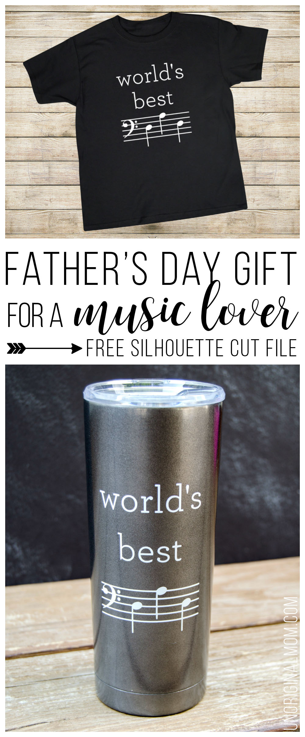 World's Best Dad mug or t-shirt for a music-loving dad - D-A-D is spelled out in music notes! Free Silhouette cut file, too! | world's best dad | music loving dad | musical father's day gift | bass clef d-a-d | father's day silhouette cut file