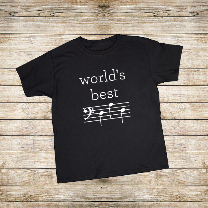 World's Best Dad t-shirt for a music-loving dad - D-A-D is spelled out in music notes! Free Silhouette cut file, too! | world's best dad | music loving dad | musical father's day gift | bass clef d-a-d | father's day silhouette cut file