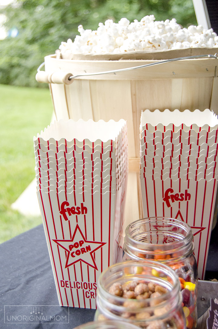 Outdoor Movie Night Popcorn Bar With Free Printables