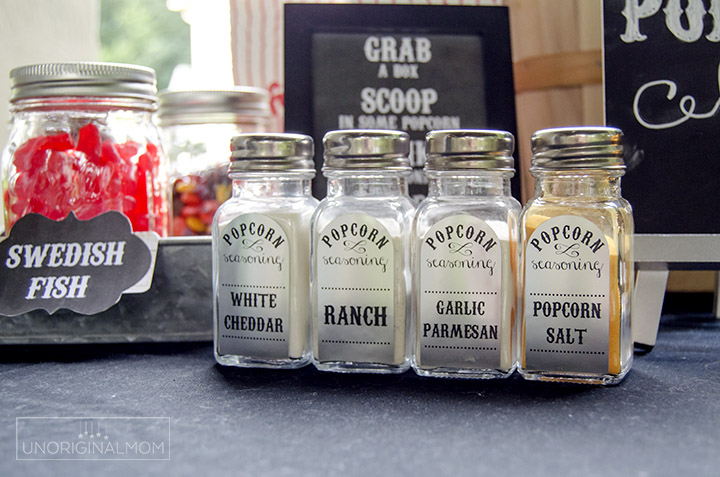 Super fun popcorn bar for an outdoor movie night - with printables and Silhouette cut files, too!   Popcorn bar printables   backyard movie night   movie party   chalkboard popcorn bar printables   movie night ideas   popcorn bar labels   movie night printables