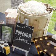 Outdoor Movie Night Popcorn Bar with Free Printables