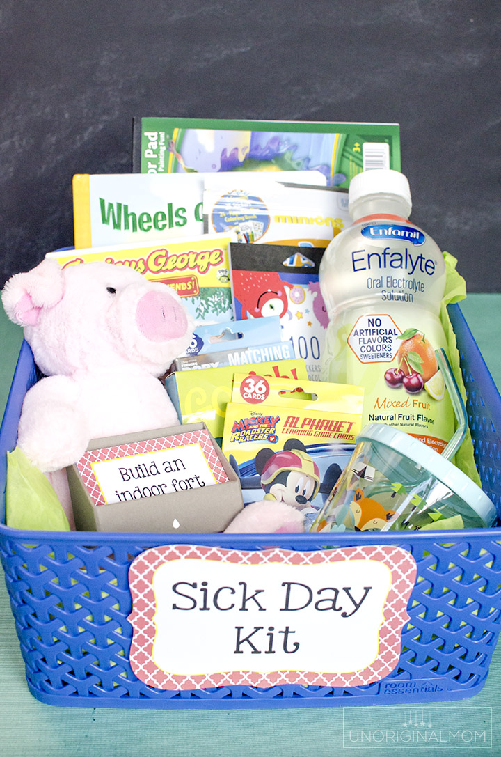 Make a Sick Day Kit to have on hand for days when you have little ones home sick - add some free printable sick day activity cards, too! | sick day activities | sick day ideas | sick day kit | sick days | sick toddler ideas