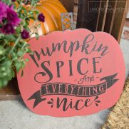 Pumpkin Spice Sign with Wood Vinyl – Free Cut File!