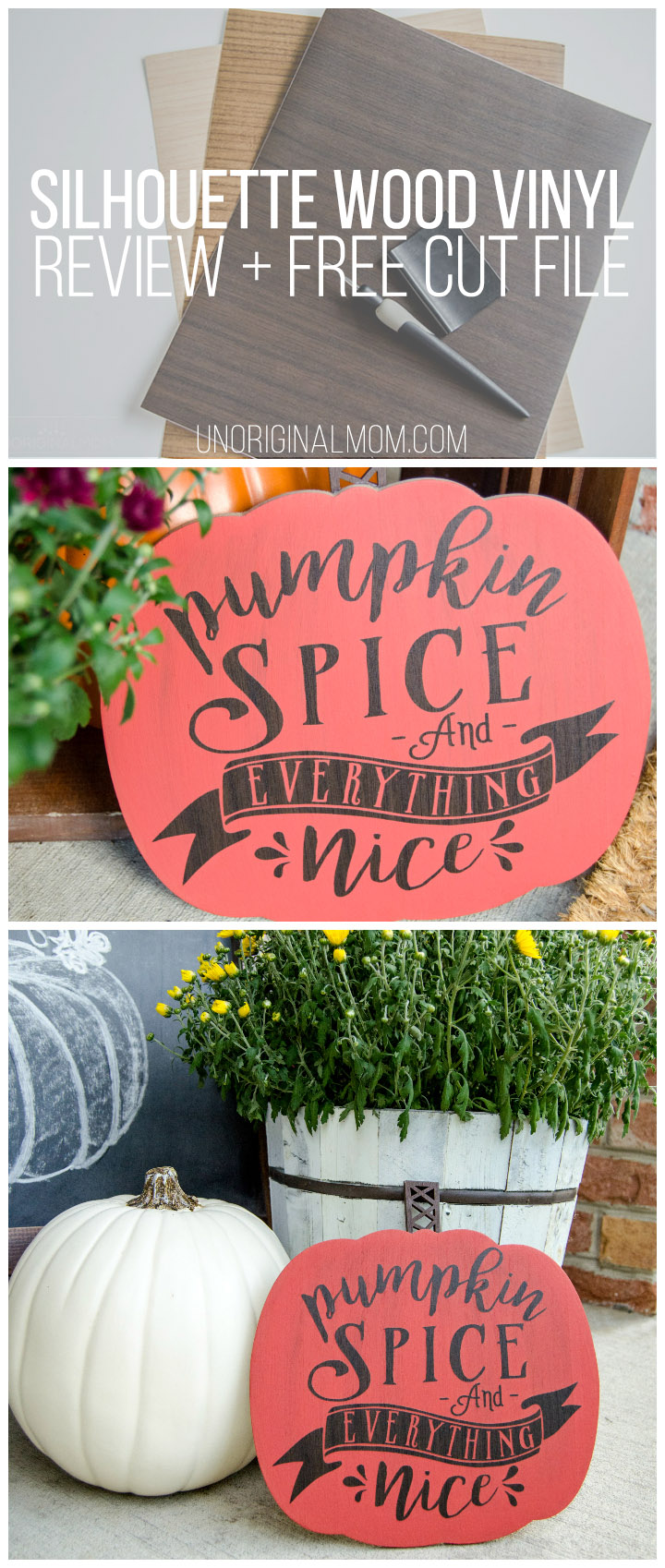 """Pumpkin spice and everything nice"" sign with a free Silhouette cut file, made with Silhouette's new wood vinyl. So neat!"