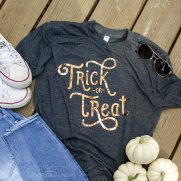 Trick or Treat Shirt with Copper Heat Transfer Vinyl