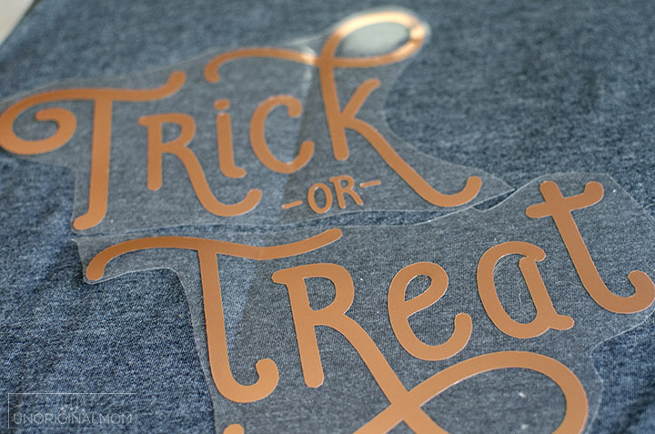 Trick or Treat women's halloween t-shirt made with Silhouette Copper Heat Transfer Vinyl | free cut file | copper htv | silhouette halloween shirt