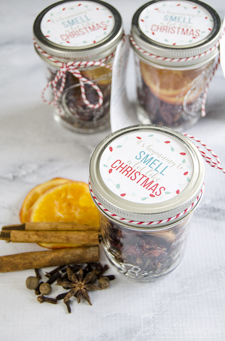 Make inexpensive gift jars for neighbors, teachers, and friends with this stovetop Christmas potpourri mix! Cute free printable tags, too! #christmaspotpourri #giftsinajar #neighborgifts #teachergifts #freeprintabletags #giftideas #myhandmadechristmas