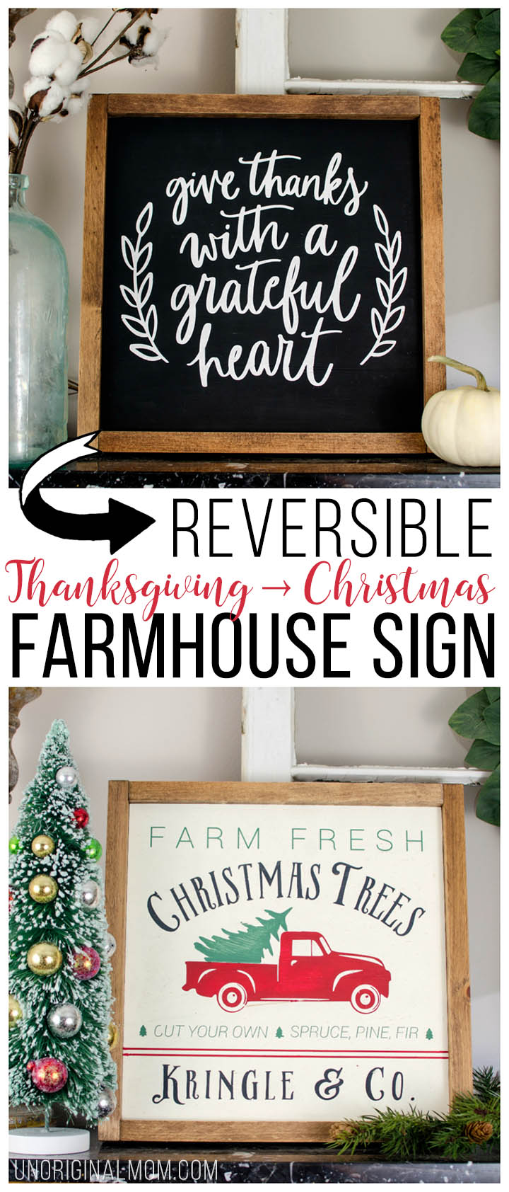 Reversible Thanksgiving-Christmas painted farmhouse sign, with a free cut file! #farmhousesign #freecutfile #christmastreefarmsign #silhouette #christmasdecor #farmhousechristmasdecor #diyfarmhousesign