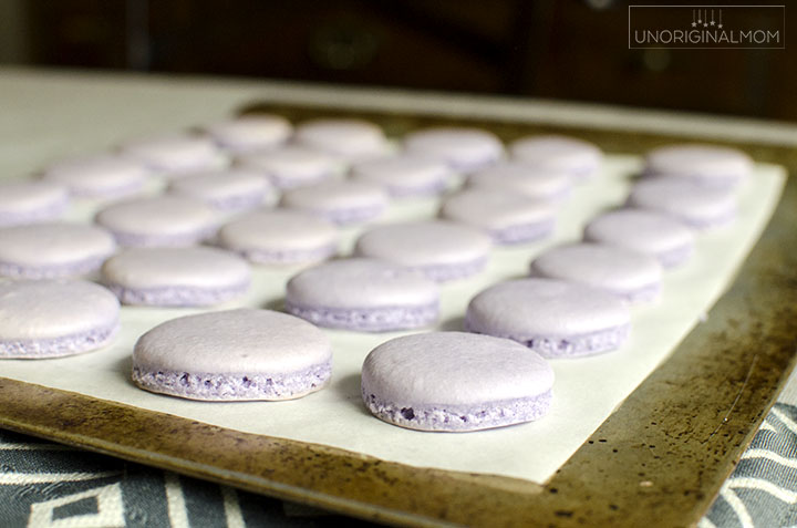 Lavender macarons with honey buttercream for a wedding macaron tower