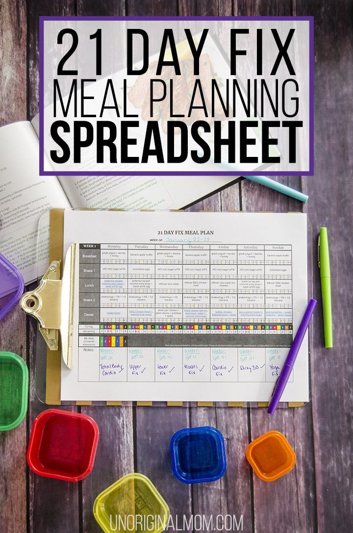 21 Day Fix Meal Plan Spreadsheet - title image. Make 21 Day Fix meal planning easy with this self-calculating Google spreadsheet! #21dayfix #mealplanning #21dayfixmealplanning #containercount #spreadsheet #freeprintable