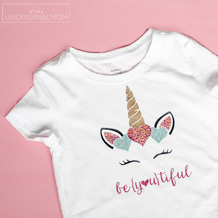 Girl's Valentine's Day Unicorn Shirt with SHIMMER heat transfer vinyl! This stuff is amazing! #htv #valentinesday #silhouette #cricut #glitterhtv #shimmerhtv #valentinesshirt #beyoutiful