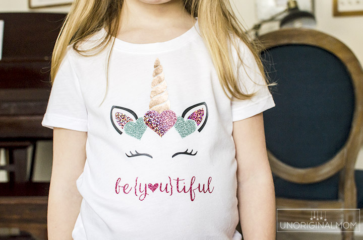Girl's Unicorn Valentine's Shirt with SHIMMER heat transfer vinyl! This stuff is amazing! Such a cute design for a Valentine's Day Shirt. #htv #valentinesday #silhouette #cricut #glitterhtv #shimmerhtv #valentinesshirt #beyoutiful