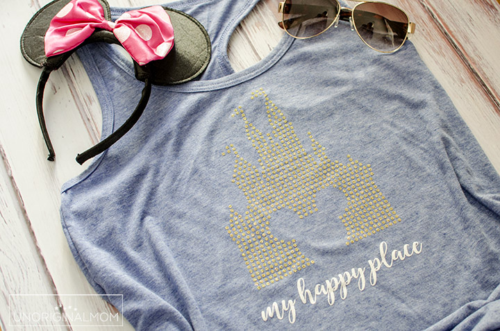 "DIY ""My Happy Place"" Disney tee made with glitter heat transfer vinyl. Free cut file, too! #disneyshirt #myhappyplace #freecutfile #silhouettecameo #htv #glitterhtv #diydisney"