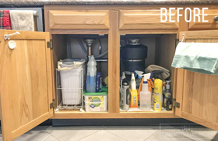 Under the Sink organization ideas - great ideas from this realistic before and after! Love those acrylic drawers and vinyl labels! #underthesink #organization #kitchenorganization #organizationideas #undersinkorganization
