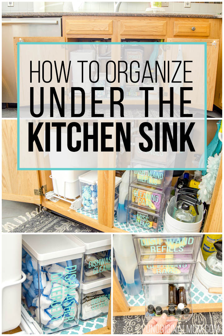 How to organize under the kitchen sink - great ideas from this realistic before and after! Love those acrylic drawers and vinyl labels! #underthesink #organization #kitchenorganization #organizationideas #undersinkorganization