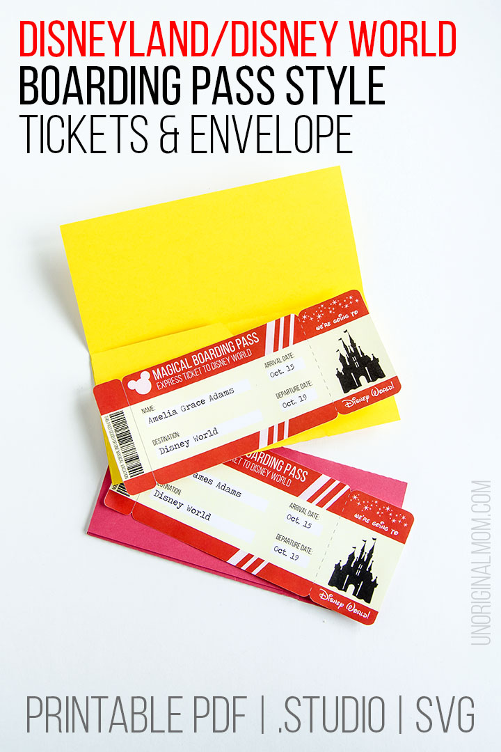 Surprise your kids with a trip to Disney using these free printable Disney tickets! Such a cute boarding pass style, with an envelope, too! Free PDFs, Silhouette Studio cut file, and SVGs for your Cricut. #disney #silhouette #cricut #freeprintable