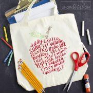 DIY Teacher Gift: Hand Lettered Class List Tote