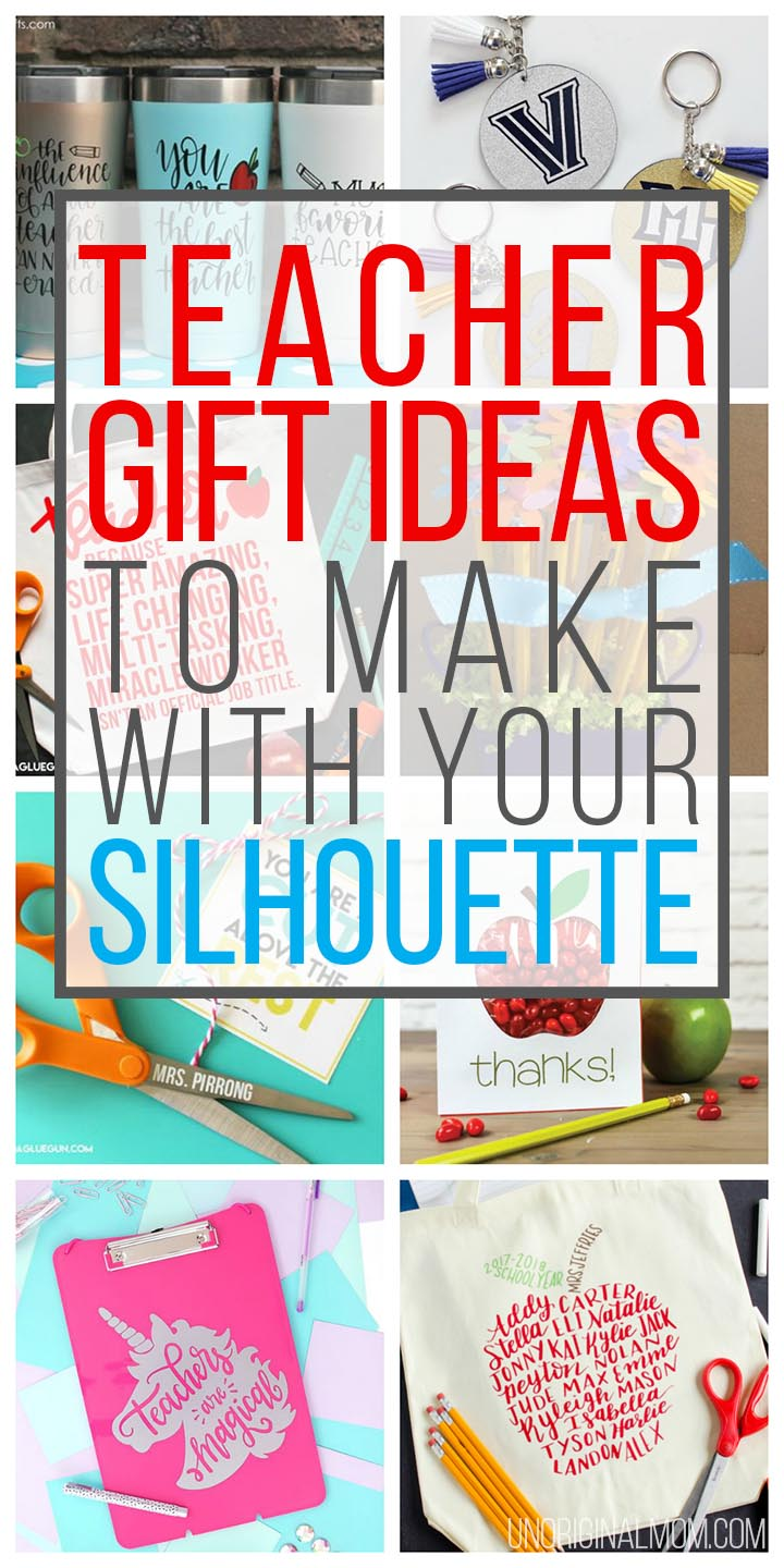 20 creative teacher gifts to make with your Silhouette or Cricut craft cutting machine! Whip up a personalized teacher appreciation gift in no time. #teacherappreciation #teachergifts #silhouette #cricut