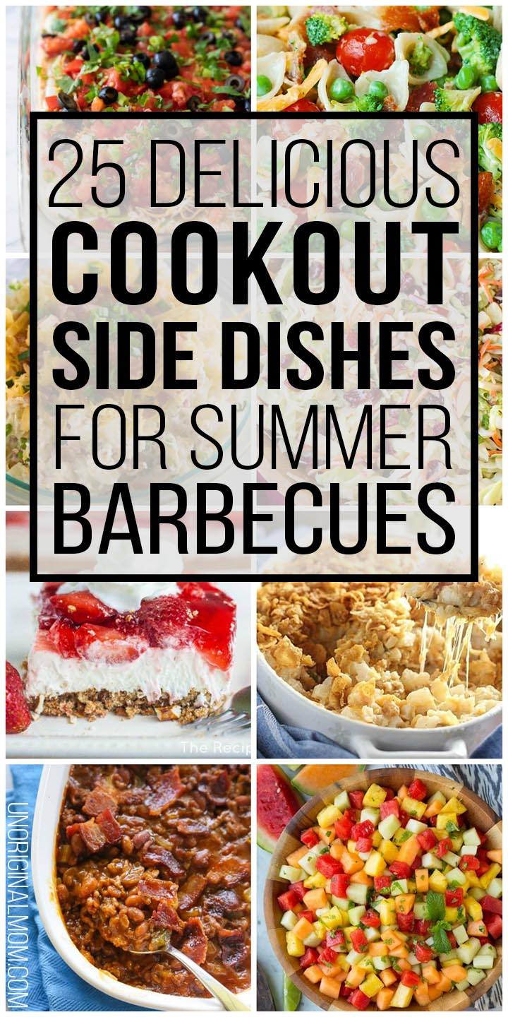 Delicious and easy cookout side dishes to take to a summer barbecue. Perfect for potlucks or backyard entertaining! #summer #cookouts #sidedishes #potlucks #barbecue