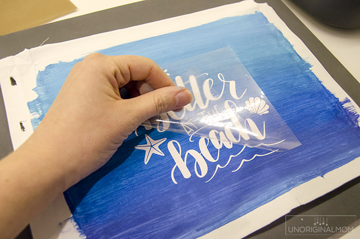 HTV Reverse Canvas tutorial - cut and apply the heat transfer vinyl