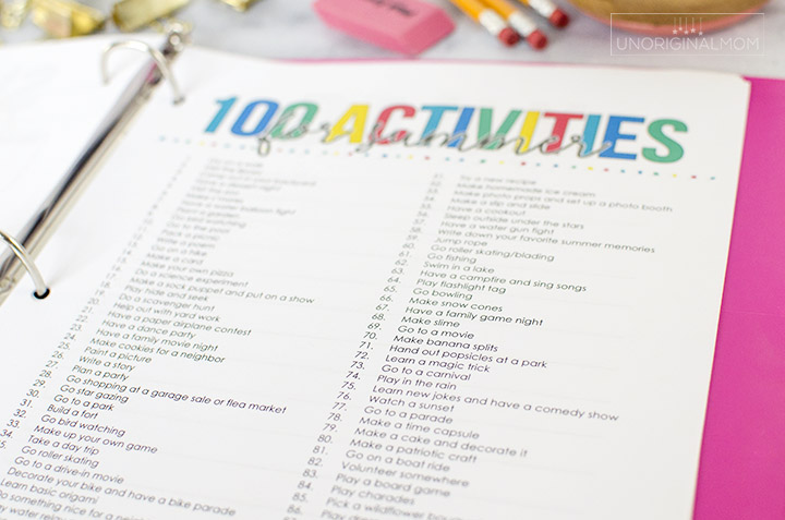 100 summer activity ideas, as part of this great printable summer goal planner as part of a summer activity planning binder - perfect for summer planning, setting goals, and more! #summerplanner