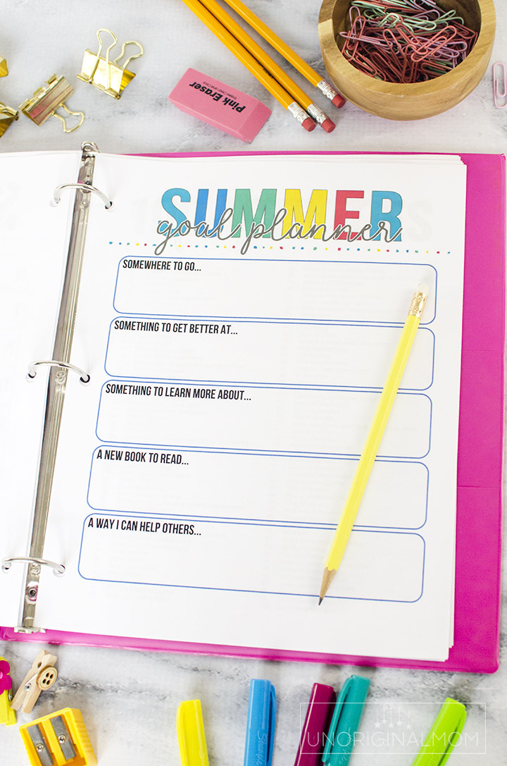 Printable summer goal planner as part of a summer activity planning binder - perfect for summer planning, setting goals, and more! #summerplanner