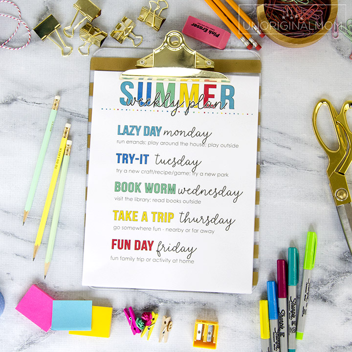 Free Printable Weekly Summer Activity Plan Unoriginal Mom