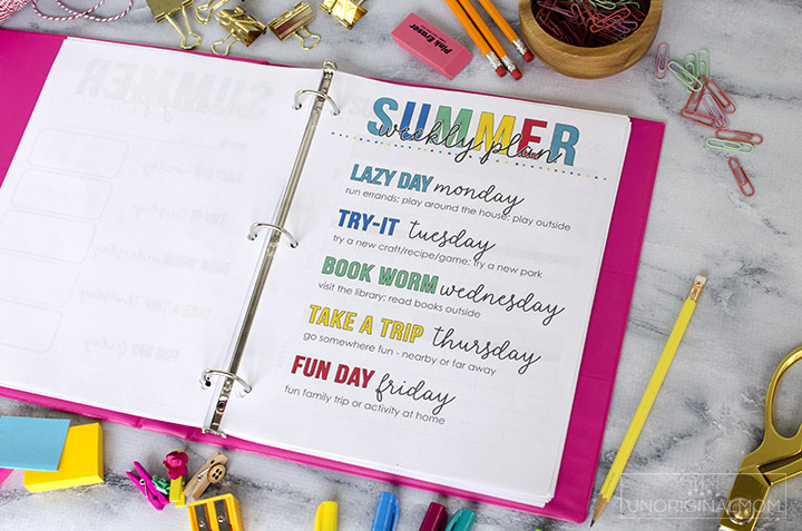 Printable summer activity planning binder - perfect for summer planning, setting goals, and more! #summerplanner