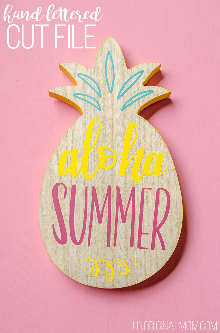 Aloha Summer hand lettered cut file - cute vinyl on a pineapple from the Target dollar spot!