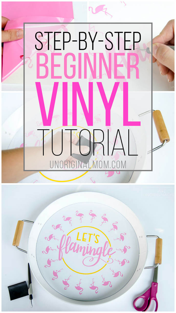 "Step-by-step beginner vinyl tutorial to make this adorable ""let's flamingle"" tray! #silhouette #silhouettestudio #vinyl #vinyltutorial"