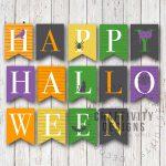 Free Printable Colorful Halloween Banner