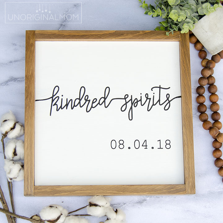Use this Kindred Spirits cut file and SVG with your Silhouette or Cricut to make a unique and personal wedding or anniversary gift! #kindredspirits #cutfile #silhouette #cricut #weddinggift